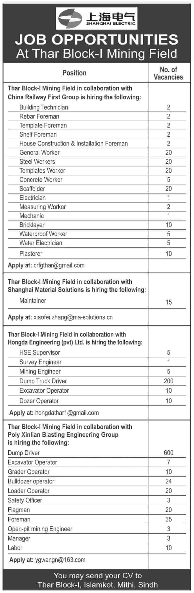 Shanghai Electric Jobs August 2020 Advertisement