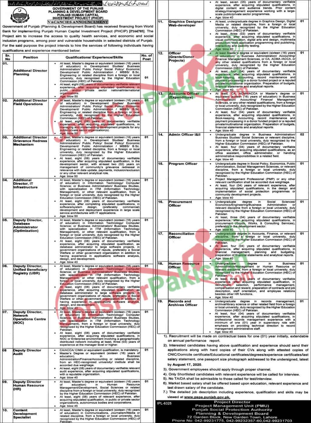 new Planning And Development Board Jobs 2020