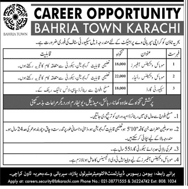 Bahria Town Karachi Jobs August 2020