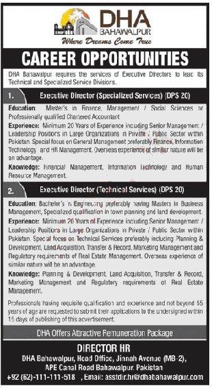 new DHA Bahawalpur Jobs Advertisement August 2020