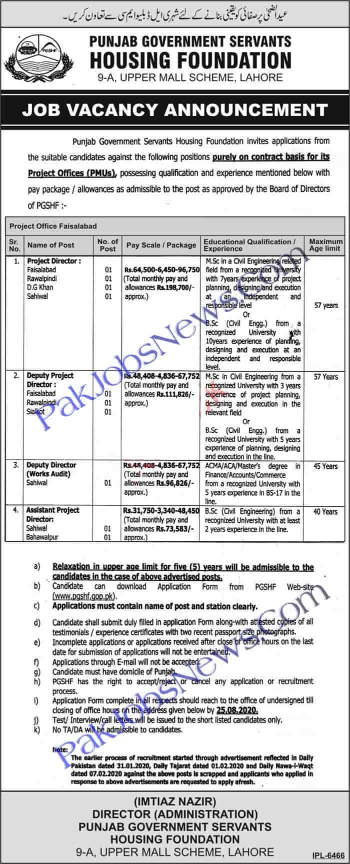 Punjab Government Servants Housing Foundation PGSHF Jobs