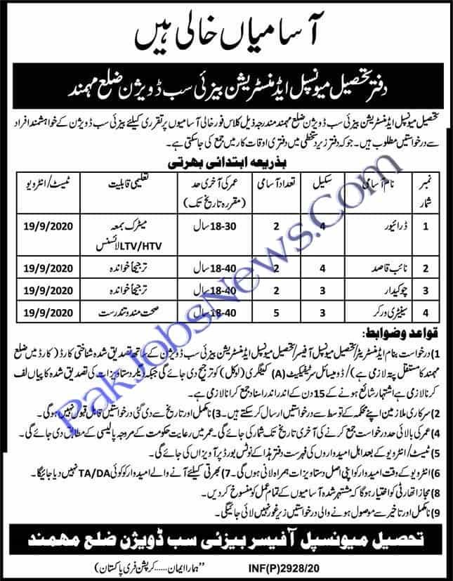 Tehsil Municipal Administration Jobs 2020