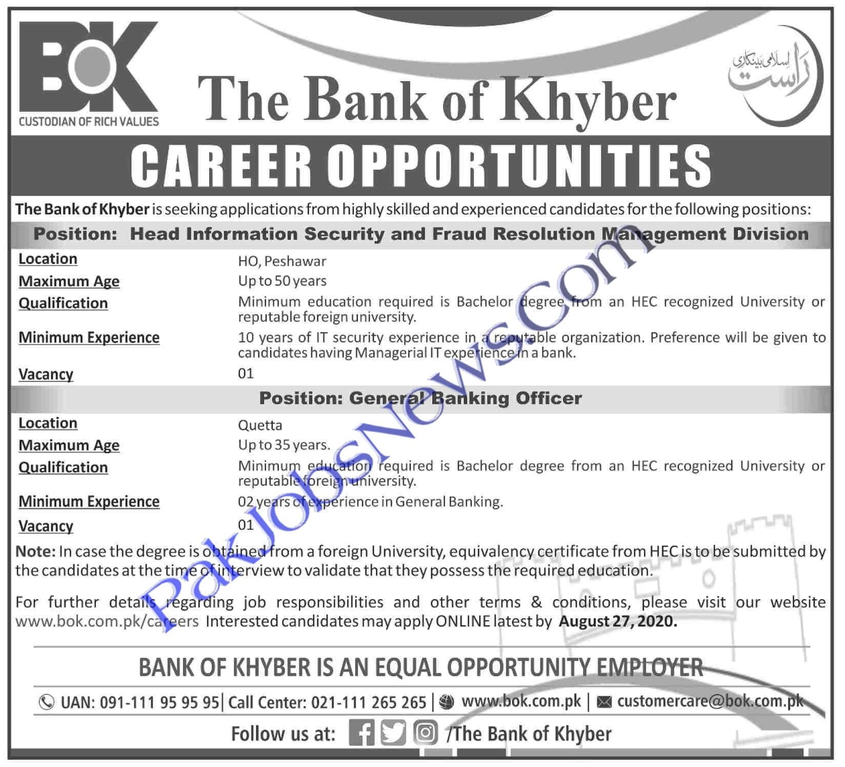 The Bank of Khyber BOK Jobs August 2020 advertisement