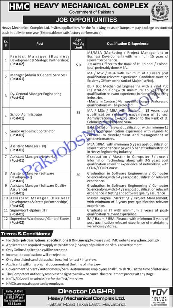 Jobs Advertisement for HMC Heavy Mechanical Complex (Taxila)