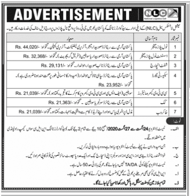 NLC Jobs Advertisement August 2020