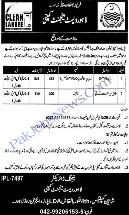 Lahore Waste Management Company Jobs September 2020