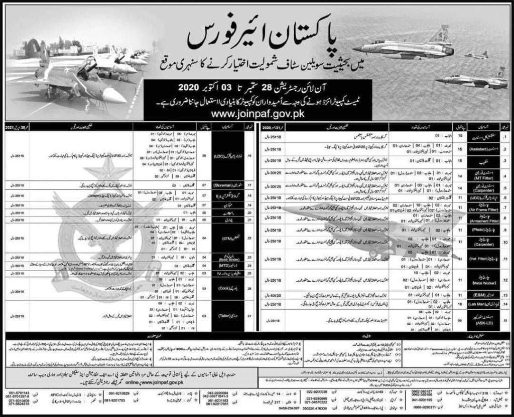 PAF Civilian Jobs September 2020 Original Advertisement