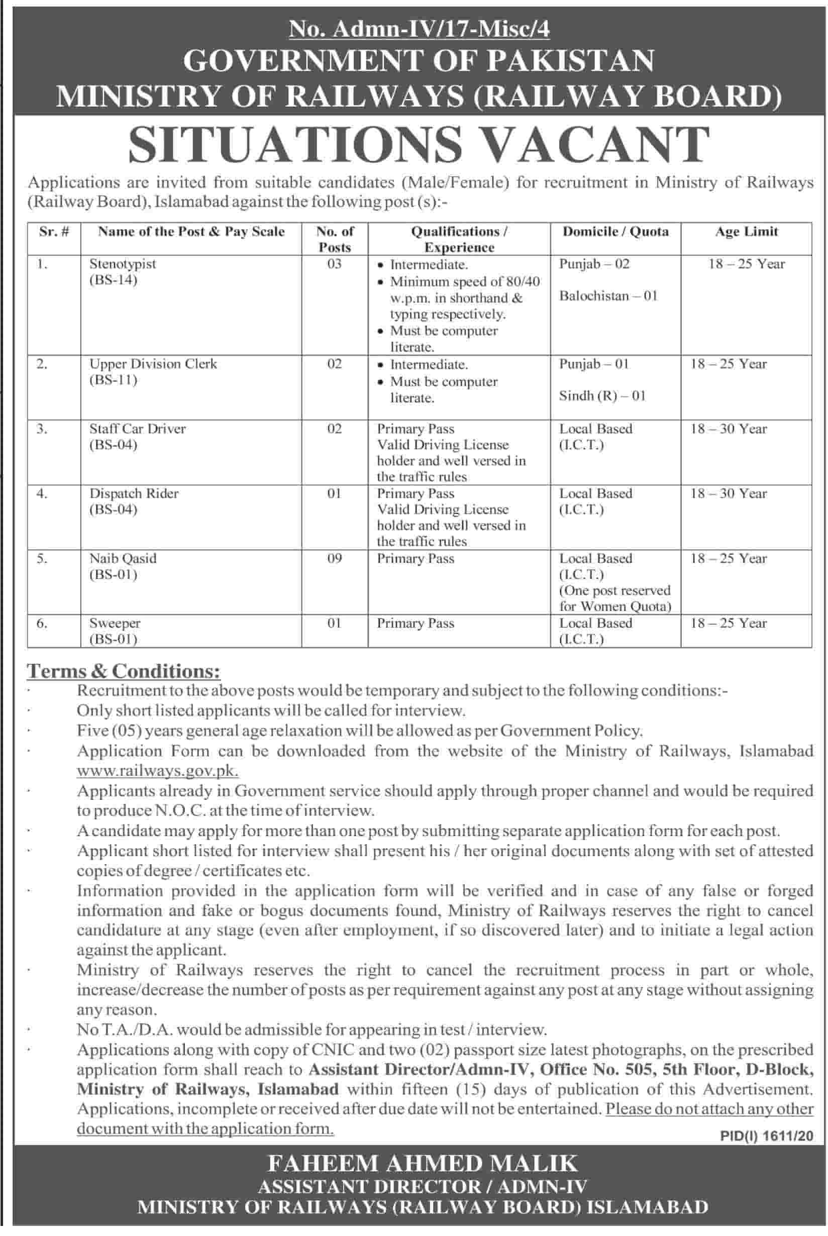Latest Pakistan Railways - Ministry Jobs Official Advertisement 2020