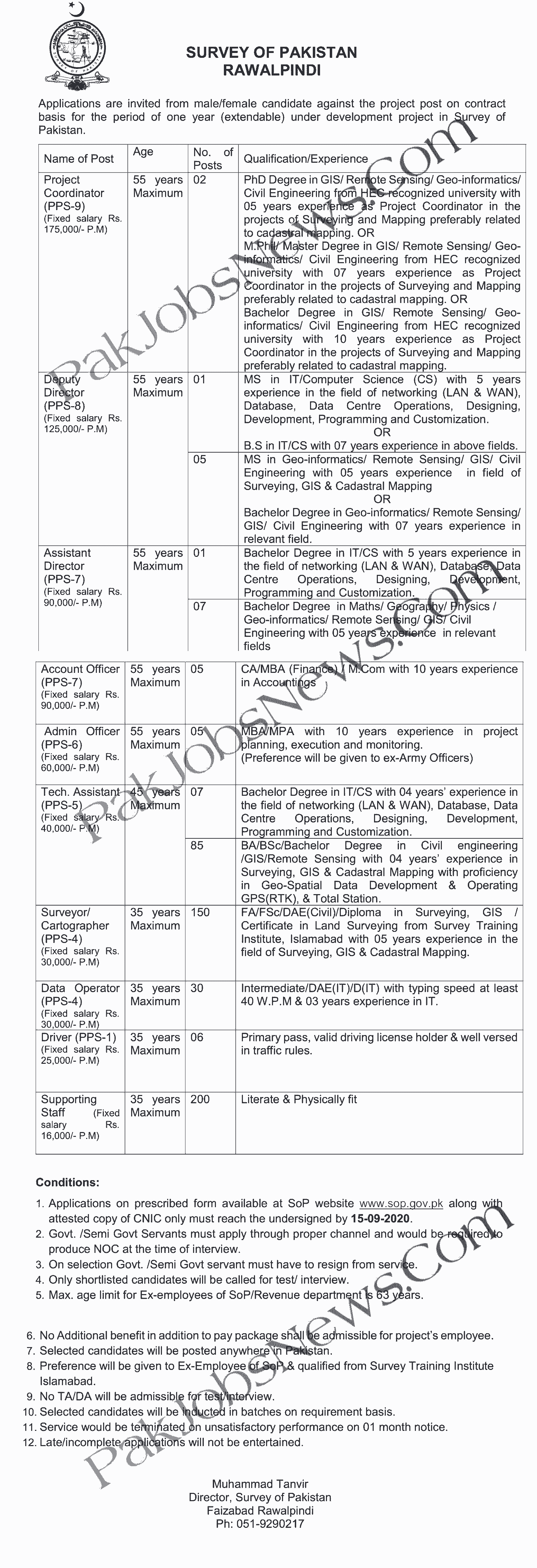 Pakistan Survey Jobs Advertisement September 2020