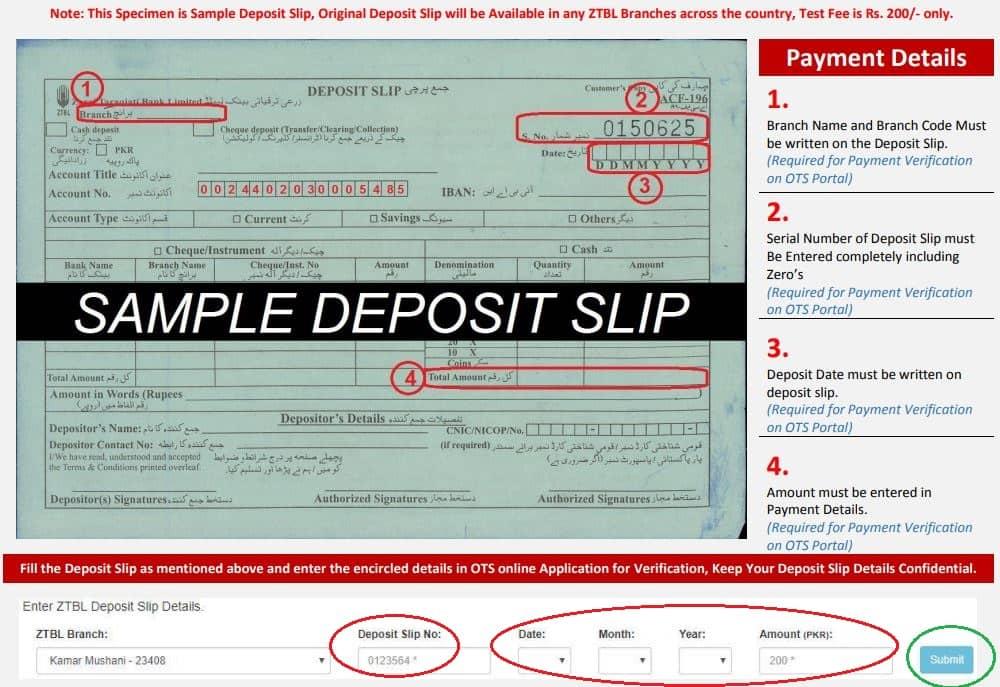 Sample OTS fee Deposit slip for ZTB Jobs
