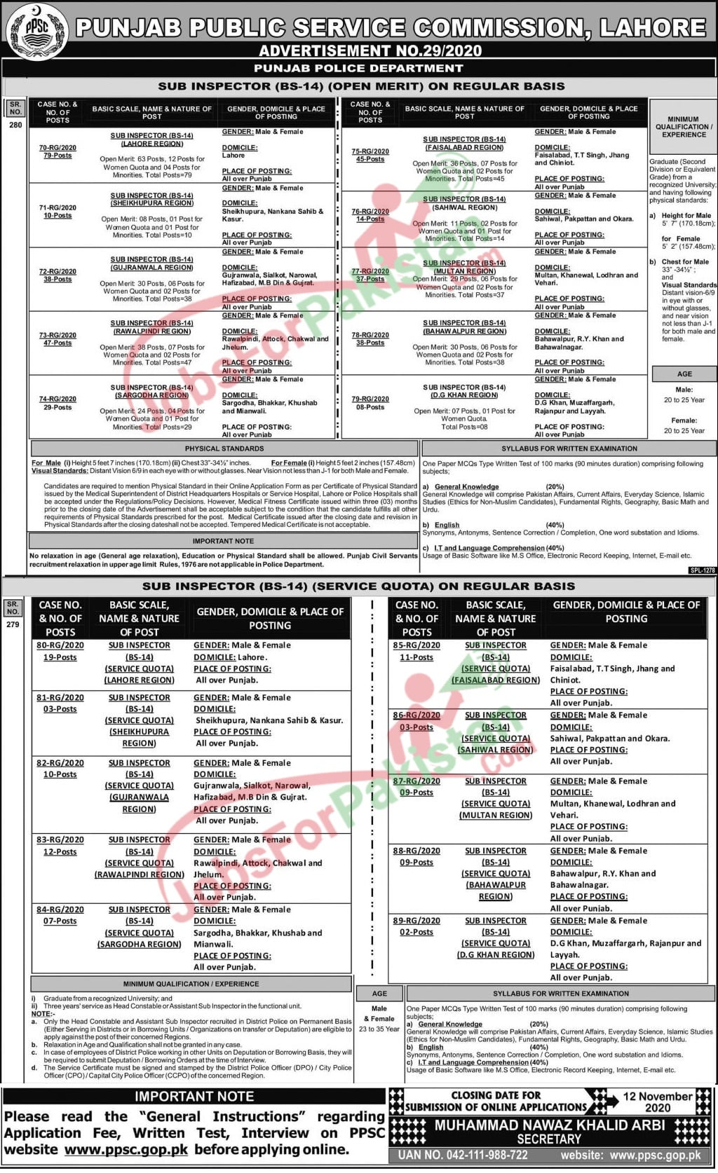 PPSC Sub-Inspector Jobs 2020