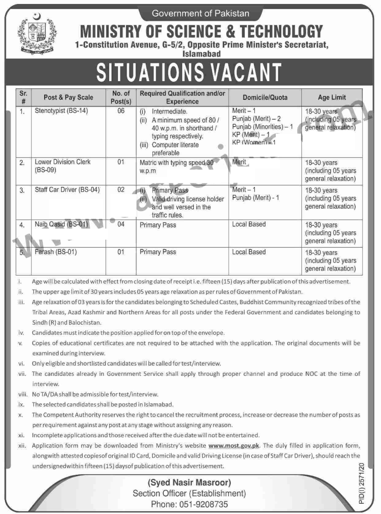 Ministry Of Science And Technology Jobs November 2020 Official Advertisement