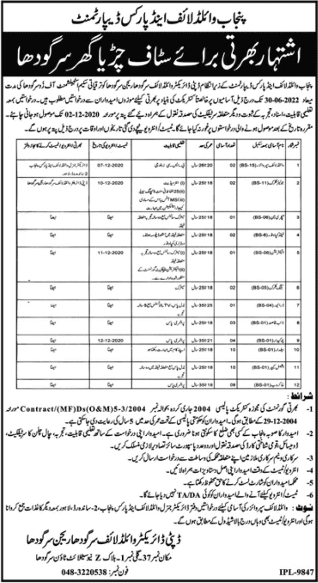 Punjab Wildlife & Parks Department Jobs